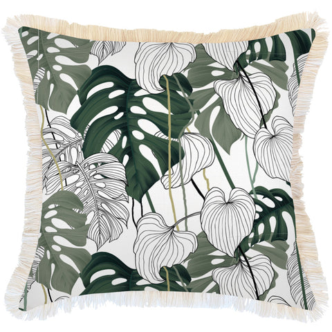 Indoor Outdoor Cushion Cover-Coastal Fringe-Moonlight-60cm x 60cm