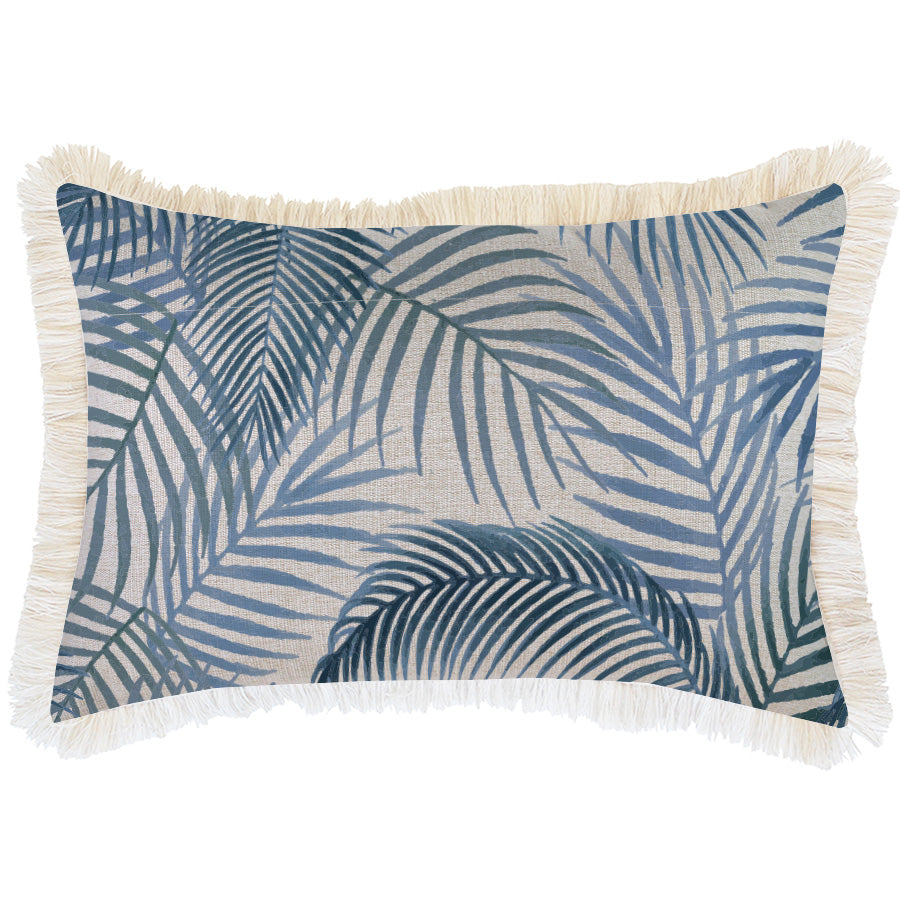 Indoor Outdoor Cushion Cover-Coastal Fringe-Seminyak Blue-35cm x 50cm