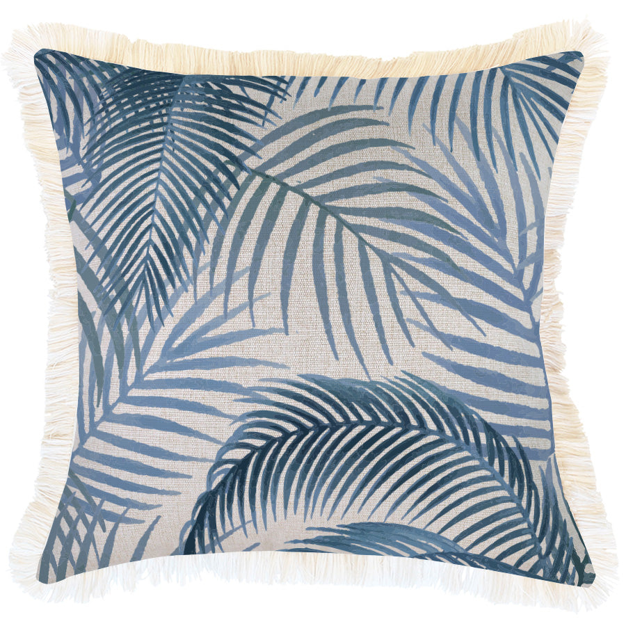 Indoor Outdoor Cushion Cover-Coastal Fringe-Seminyak Blue-45cm x 45cm
