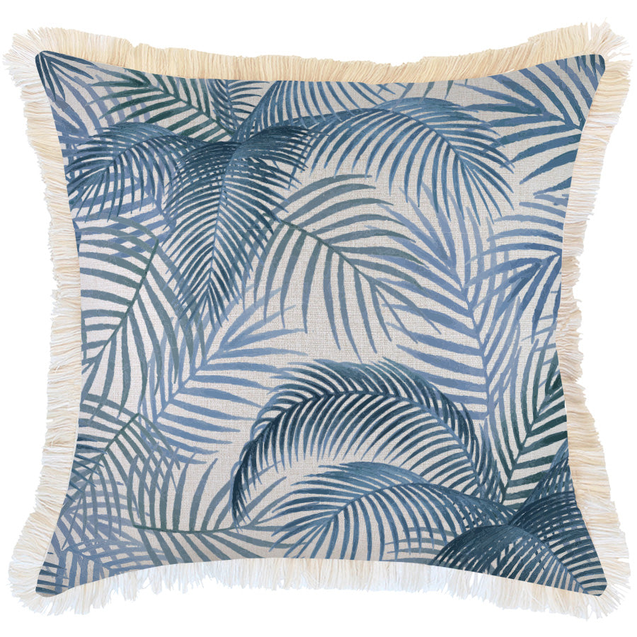 Indoor Outdoor Cushion Cover-Coastal Fringe-Seminyak Blue-60cm x 60cm
