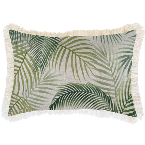 Indoor Outdoor Cushion Cover-Coastal Fringe-Milan Blue-35cm x 50cm