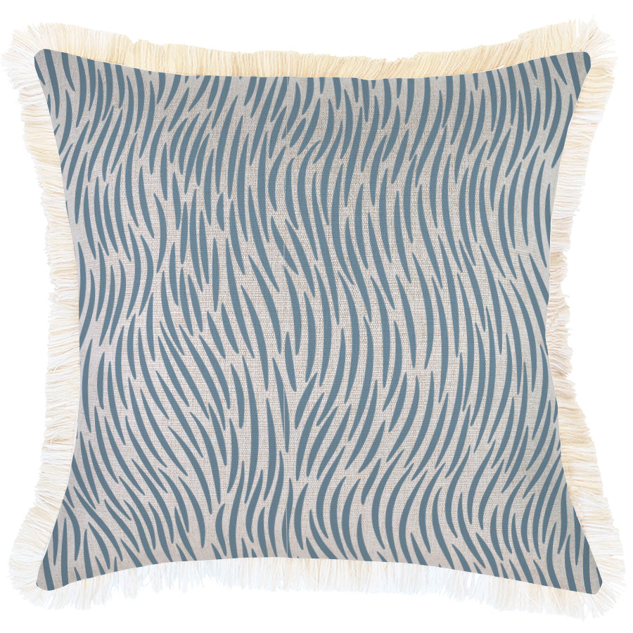 Indoor Outdoor Cushion Cover-Coastal Fringe-Wild Blue-45cm x 45cm