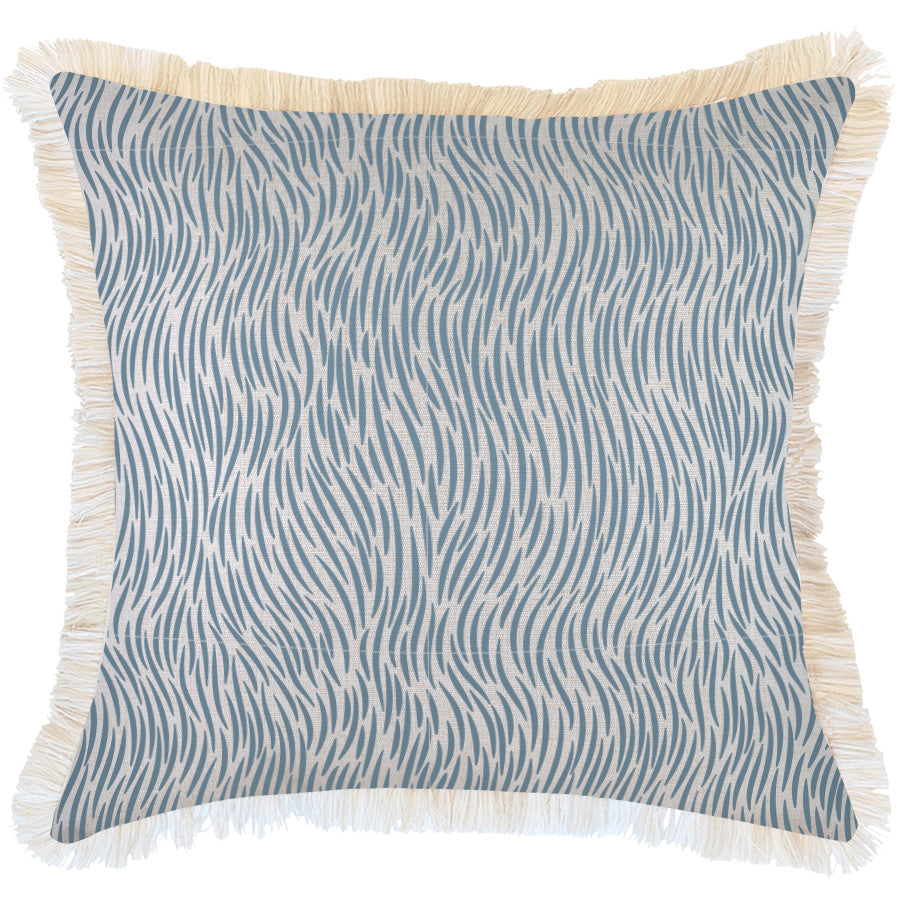 Indoor Outdoor Cushion Cover-Coastal Fringe-Wild Blue-60cm x 60cm