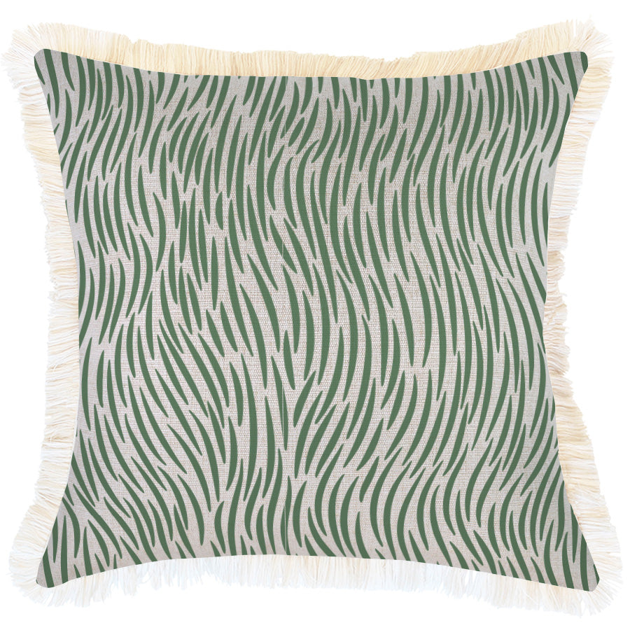 Cushion Cover-Coastal Fringe-Wild Green-45cm x 45cm