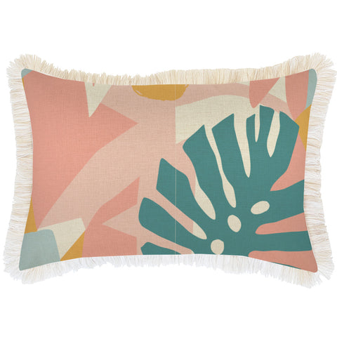 Cushion Cover-Coastal Fringe Natural-Side Stripe Peach-45cm x 45cm