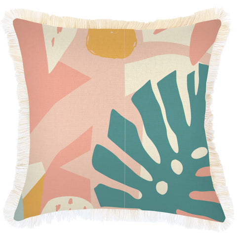 Cushion Cover-Coastal Fringe-Paint Stripes Pale Mint-35cm x 50cm