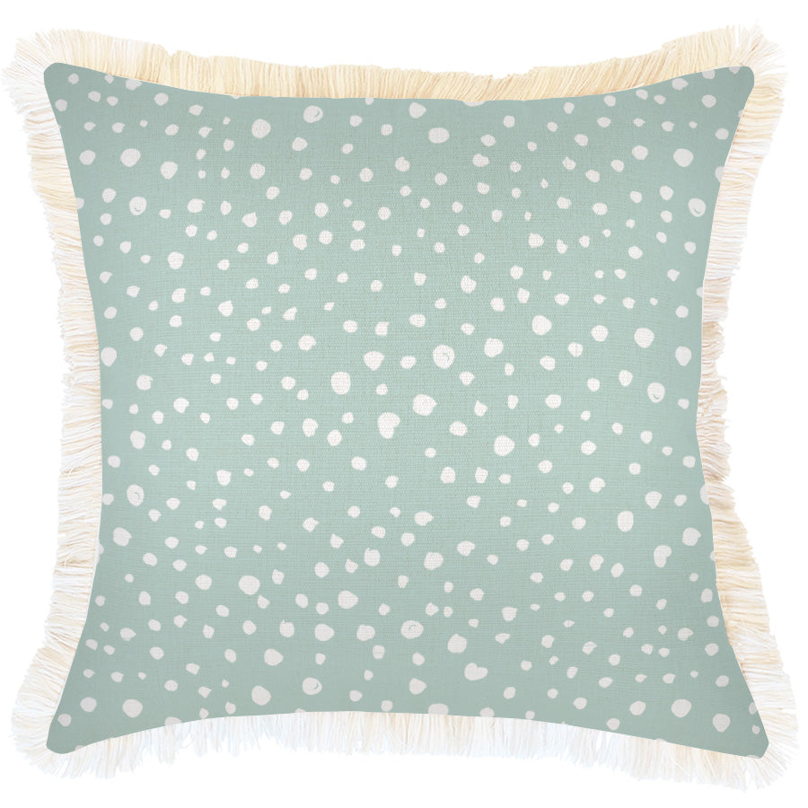 Cushion Cover-Coastal Fringe-Lunar Pale Mint-45cm x 45cm