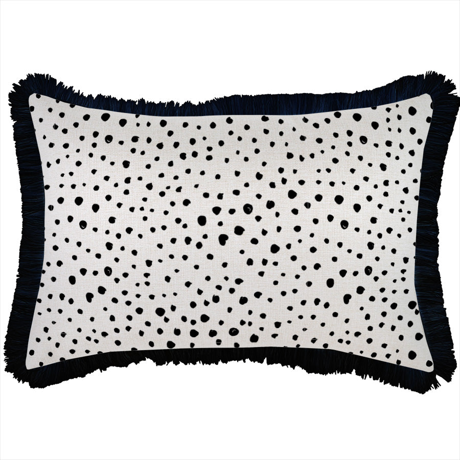 Cushion Cover-Coastal Fringe Black-Lunar-35cm x 50cm