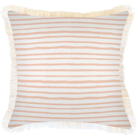 Cushion Cover-Coastal Fringe Natural-Peach-35cm x 50cm