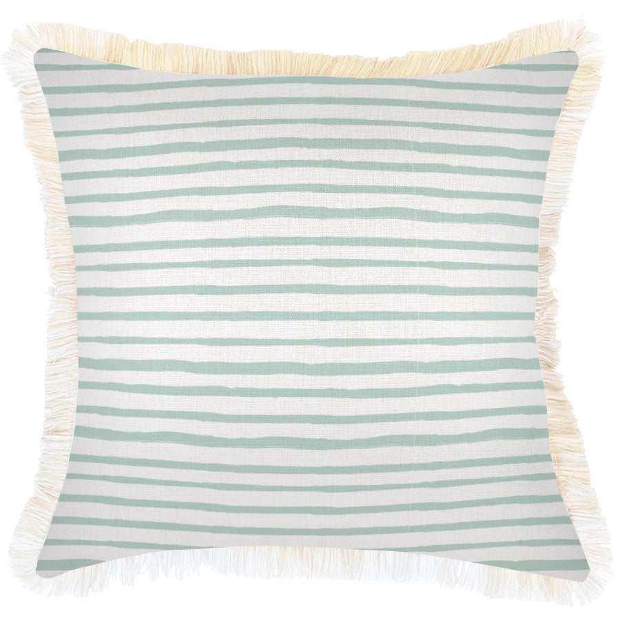 Cushion Cover-Coastal Fringe-Paint Stripes Pale Mint-45cm x 45cm
