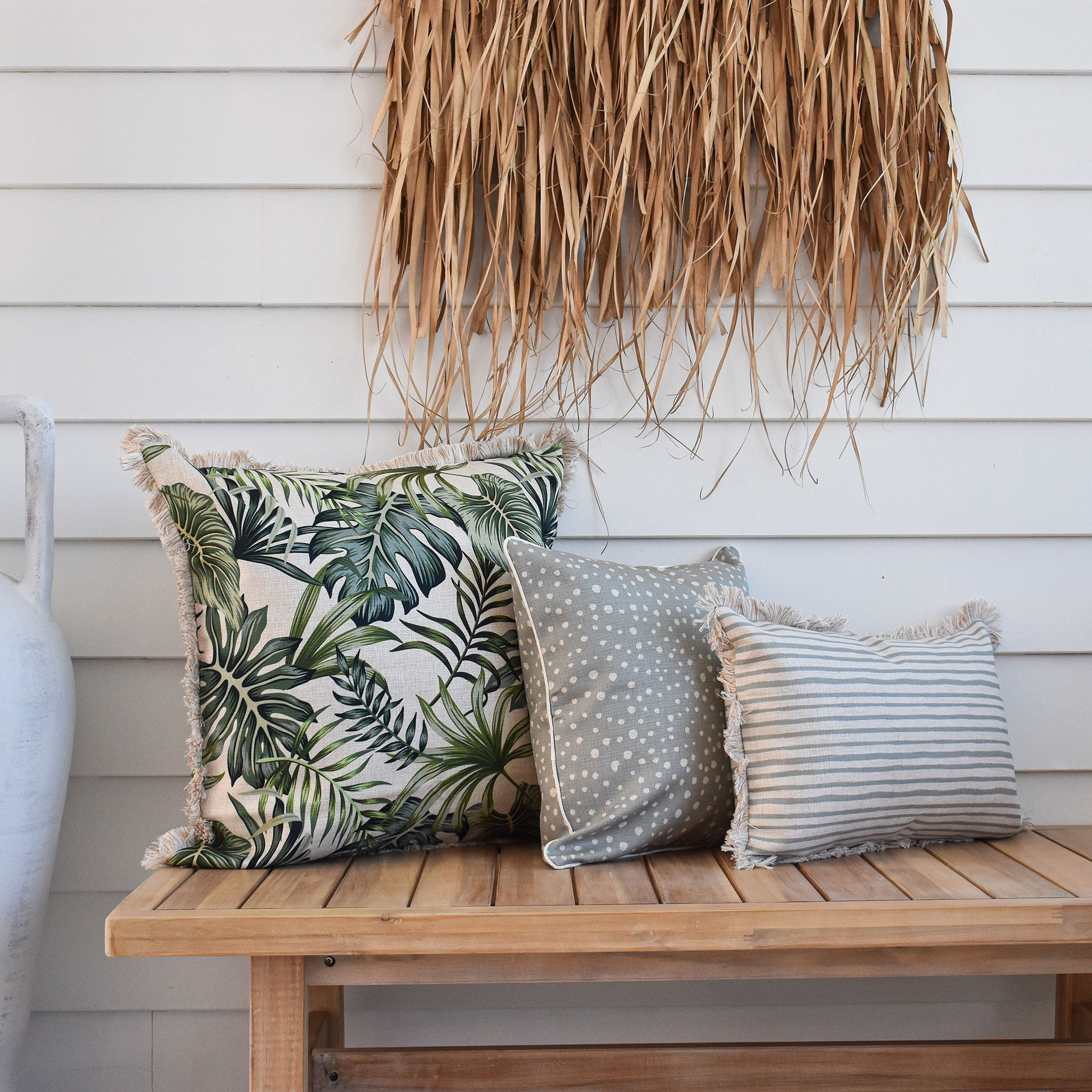 Cushion Cover-Coastal Fringe-Paint Stripes Smoke-35cm x 50cm