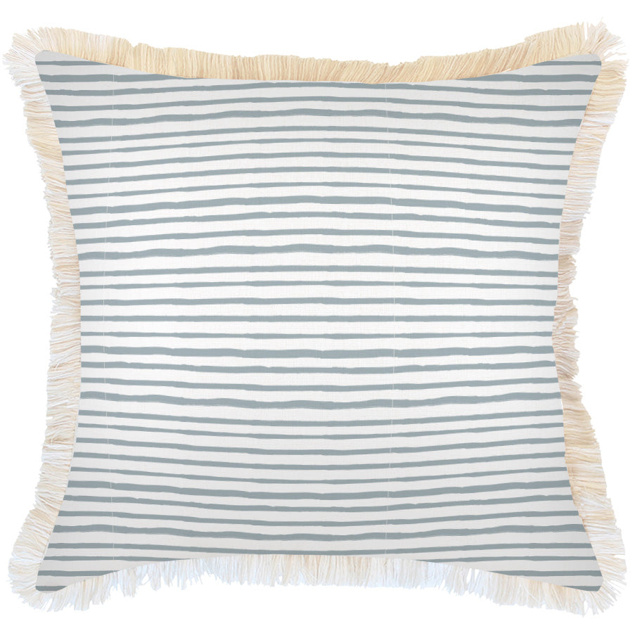 Cushion Cover-Coastal Fringe-Paint Stripes Smoke-45cm x 45cm