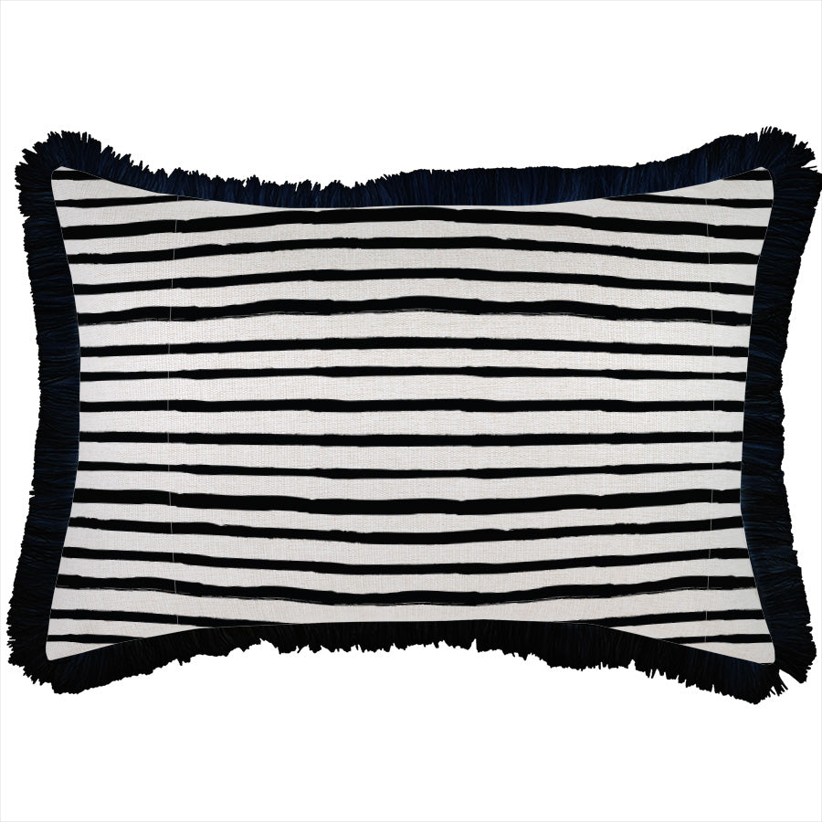 Cushion Cover-Coastal Fringe Black-Paint Stripes-35cm x 50cm