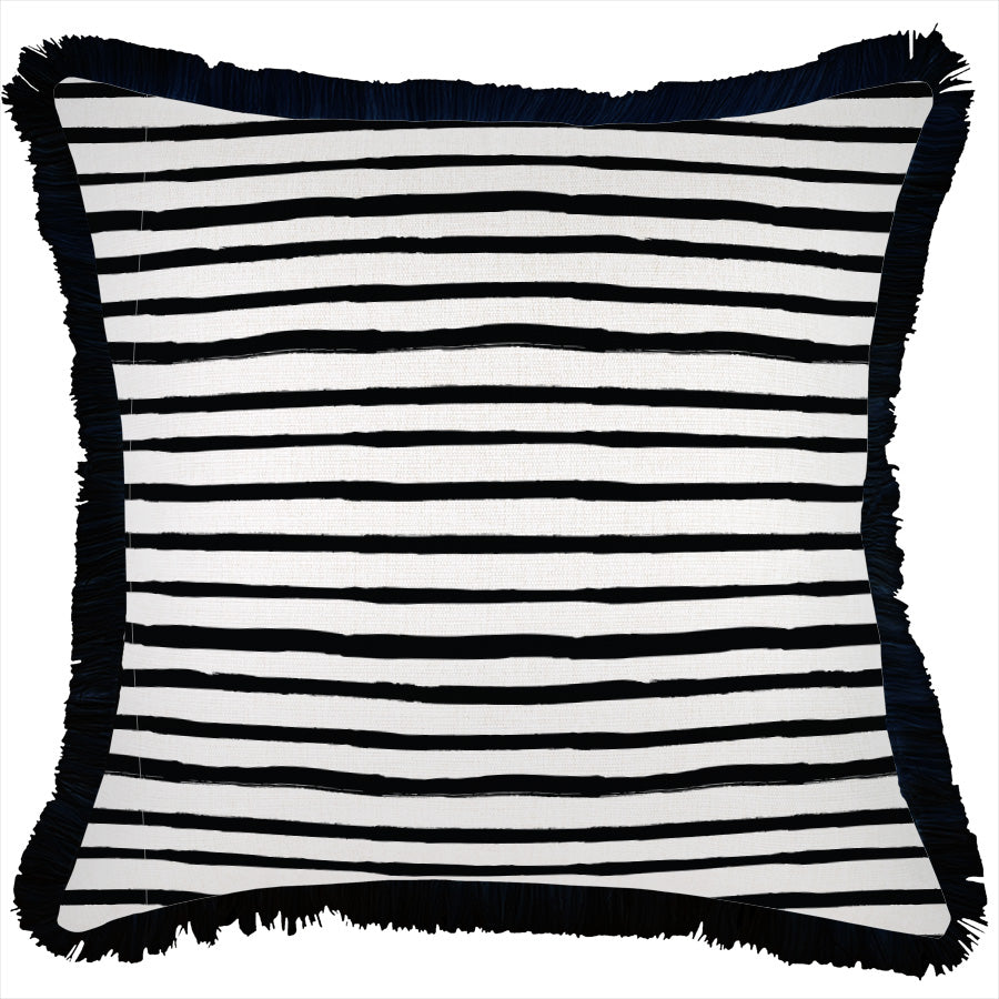 Cushion Cover-Coastal Fringe Black-Paint Stripes-45cm x 45cm