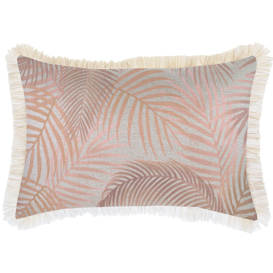 Cushion Cover-Coastal Fringe Natural-Seminyak Blush-35cm x 50cm