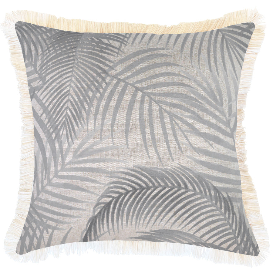 Cushion Cover-Coastal Fringe Natural-Seminyak Smoke-45cm x 45cm