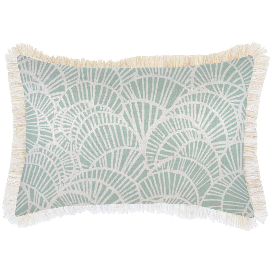 Cushion Cover-Coastal Fringe Natural-Positano Pale Mint-35cm x 50cm