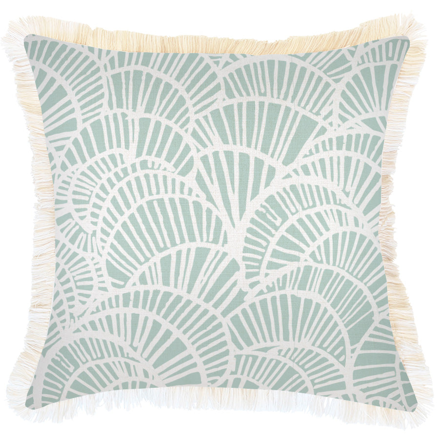 Cushion Cover-Coastal Fringe Natural-Positano Pale Mint-45cm x 45cm