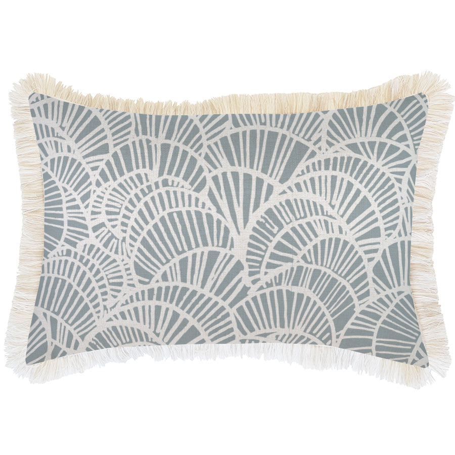 Cushion Cover-Coastal Fringe Natural-Positano Smoke-35cm x 50cm