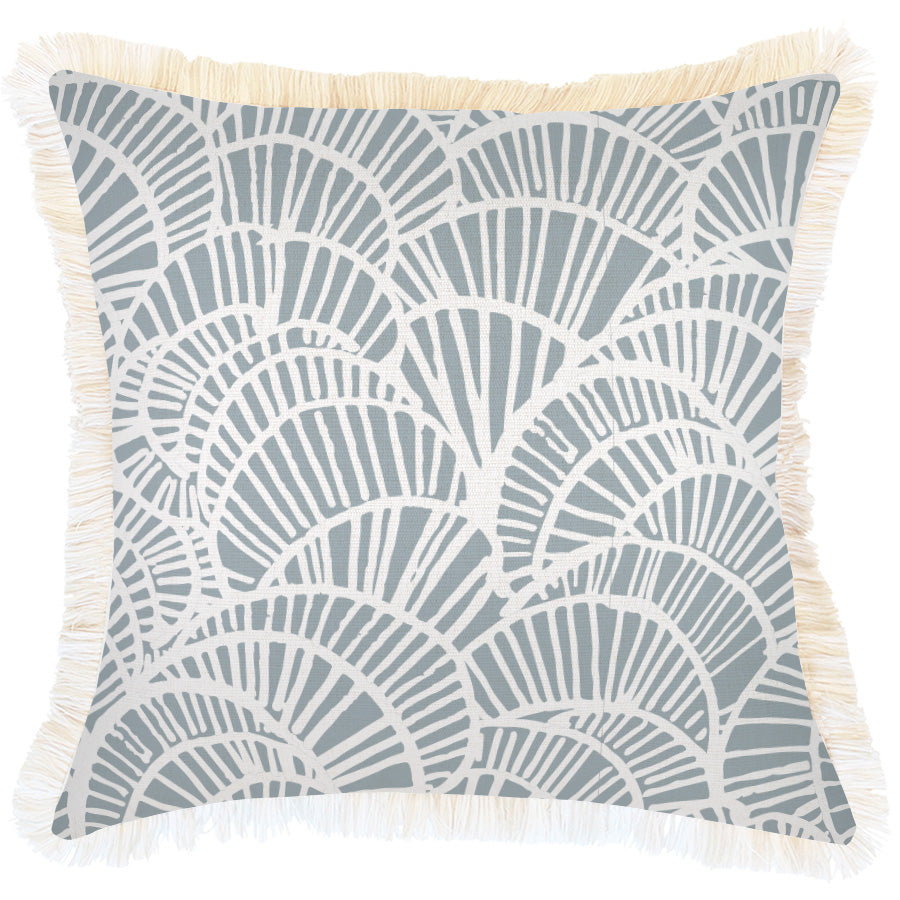 Cushion Cover-Coastal Fringe Natural-Positano Smoke-45cm x 45cm