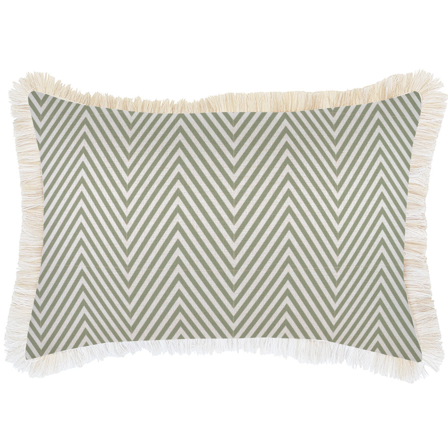 Cushion Cover-Coastal Fringe Natural-Zig Zag Sage-35cm x 50cm