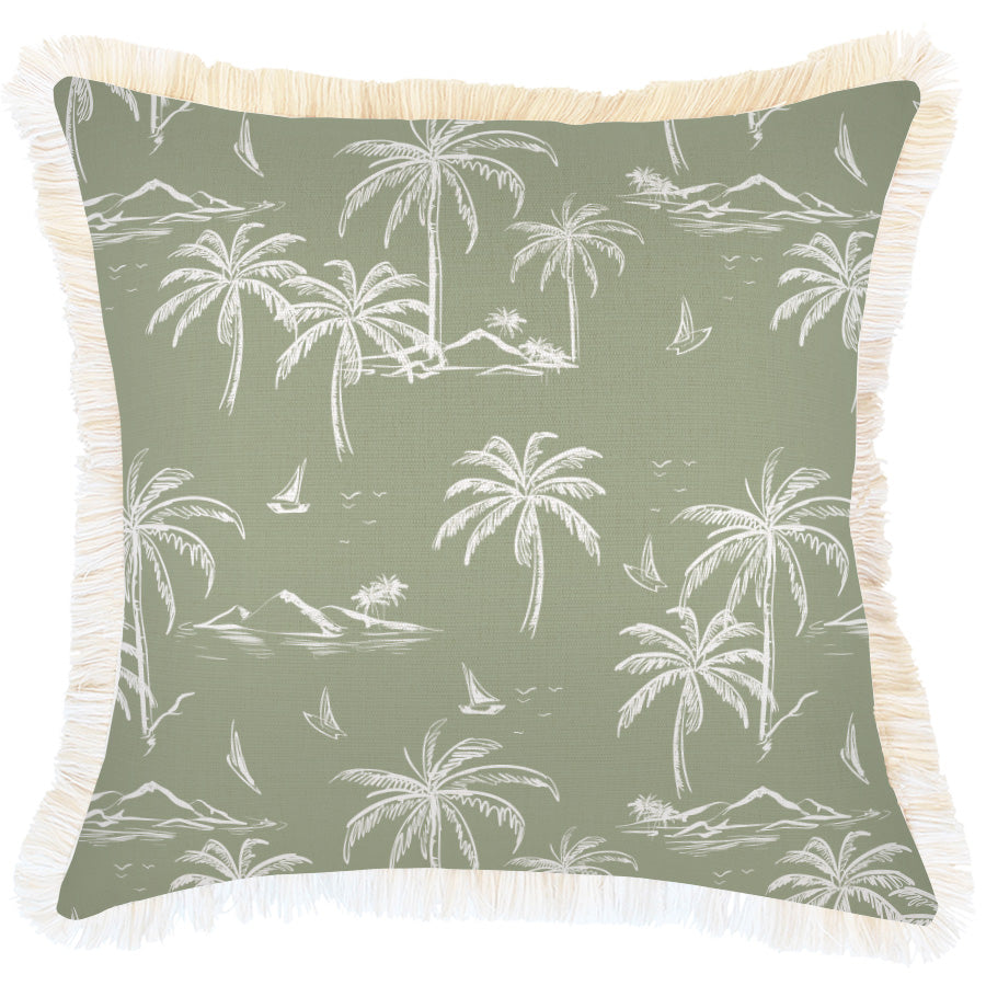Cushion Cover-Coastal Fringe Natural-Postcards Sage-45cm x 45cm