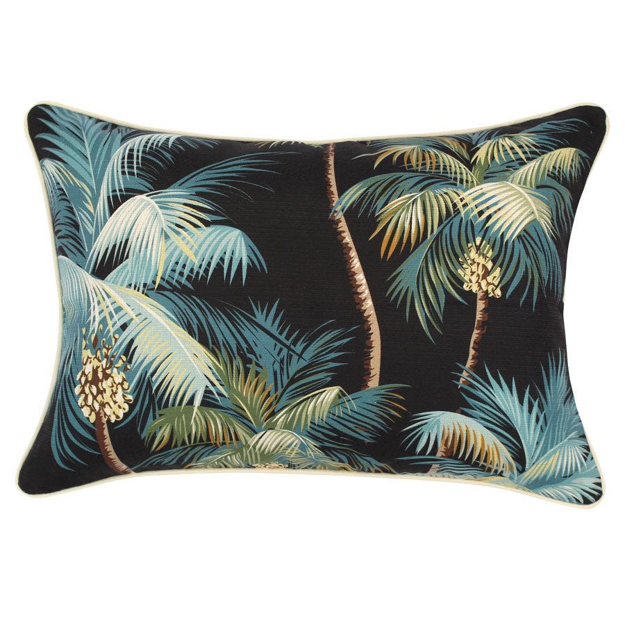 Cushion Cover-With Piping-Palm Trees Black-35cm x 50cm