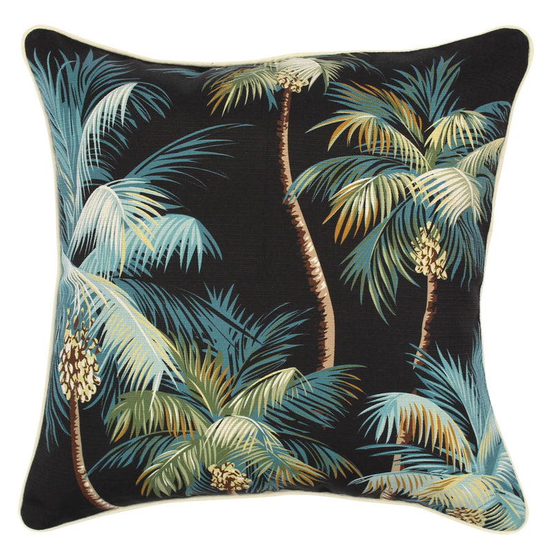 Cushion Cover-With Piping-Palm Trees Black-45cm x 45cm