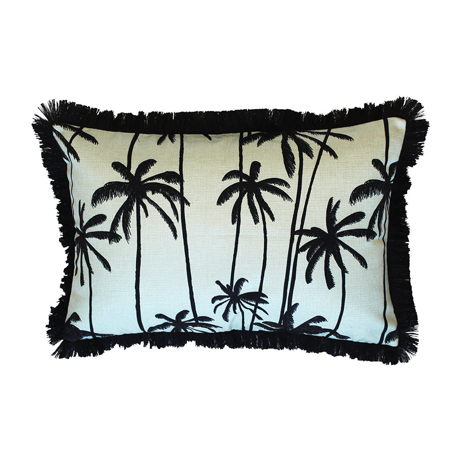 Cushion Cover-Coastal Fringe Black-Tall Palms Seafoam-35cm x 50cm