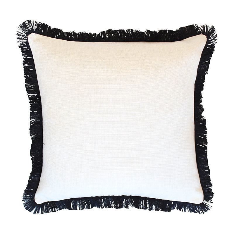 Cushion Cover-Coastal Fringe Black-Solid Natural-60cm x 60cm