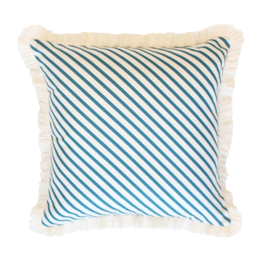 Cushion Cover-Coastal Fringe Natural-Side Stripe Teal-45cm x 45cm