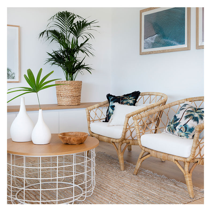 Cushion Cover-Coastal Fringe Natural-Palm Trees Natural-60cm x 60cm