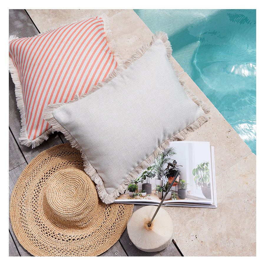 Cushion Cover-Coastal Fringe Natural-Solid Natural-35cm x 50cm