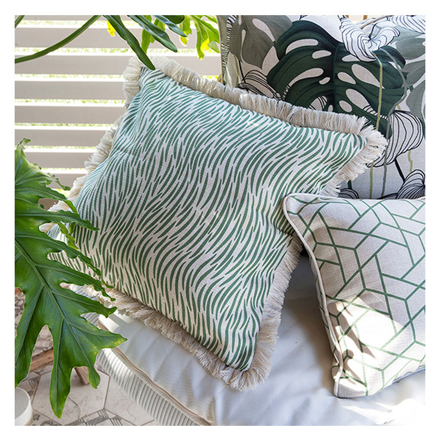 Cushion Cover-Coastal Fringe-Wild Green-60cm x 60cm