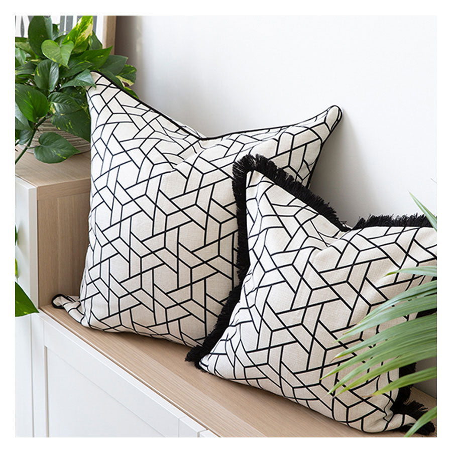 Indoor Outdoor Cushion Cover-With Black Piping-Milan Black-45cm x 45cm