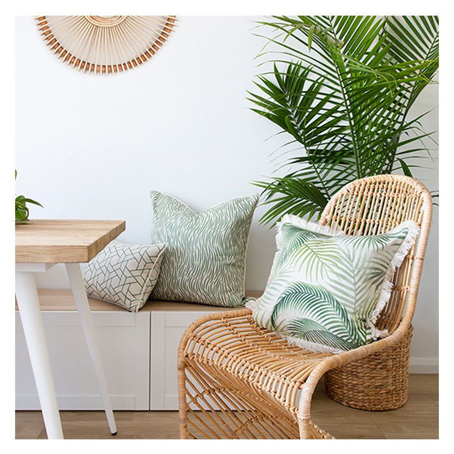 Cushion Cover-Coastal Fringe-Seminyak Green-60cm x 60cm