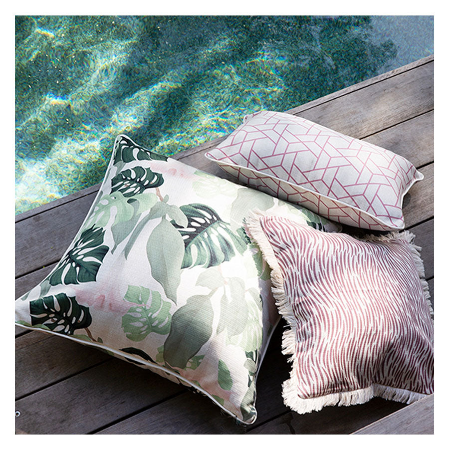 Cushion Cover-Coastal Fringe-Wild Rose-45cm x 45cm