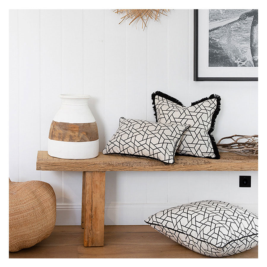 Indoor Outdoor Cushion Cover-Coastal Fringe Black-Milan Black-45cm x 45cm