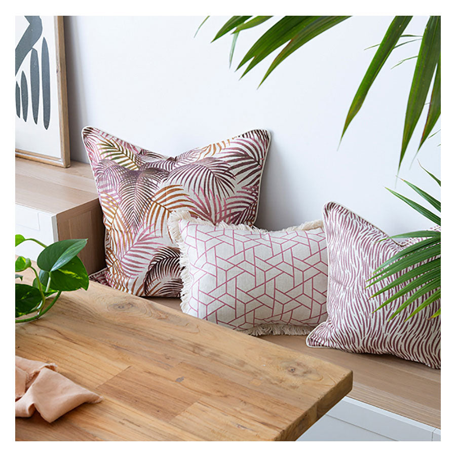 Indoor Outdoor Cushion Cover-With Piping-Seminyak Rose-60cm x 60cm