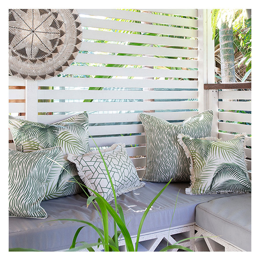 Indoor Outdoor Cushion Cover-Coastal Fringe-Milan Green-35cm x 50cm