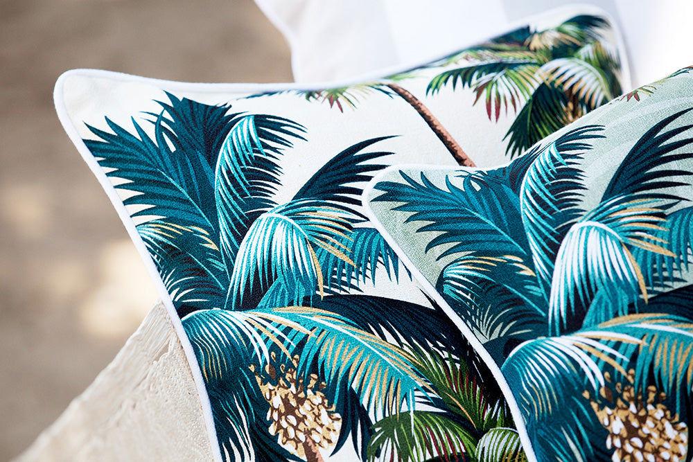 Cushion Cover-With Piping-Palm Trees White-60cm x 60cm
