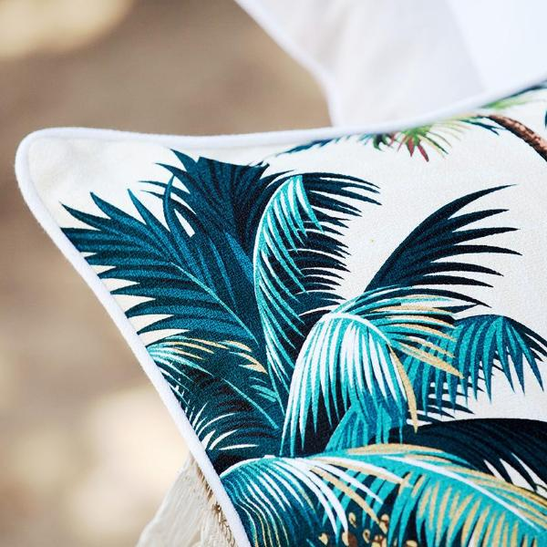 Cushion Cover-With Piping-Palm Trees White-35cm x 50cm