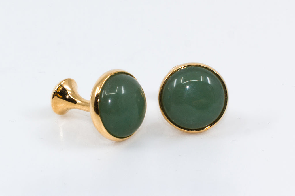 The Gatsby Cufflinks - Cufflinks with gold and green stones.
