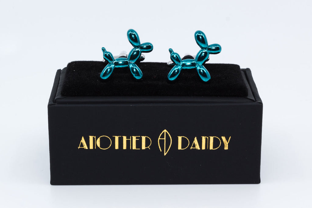 Cufflinks with two blue metallic poodle dogs as the sculptures from Jeff Koons - Balloon dogs.