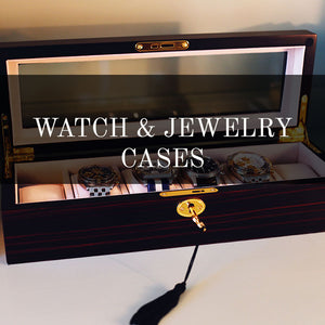 Watch cases in wood, jewlery case with velvet inner lining. Storage for cufflinks and watches.