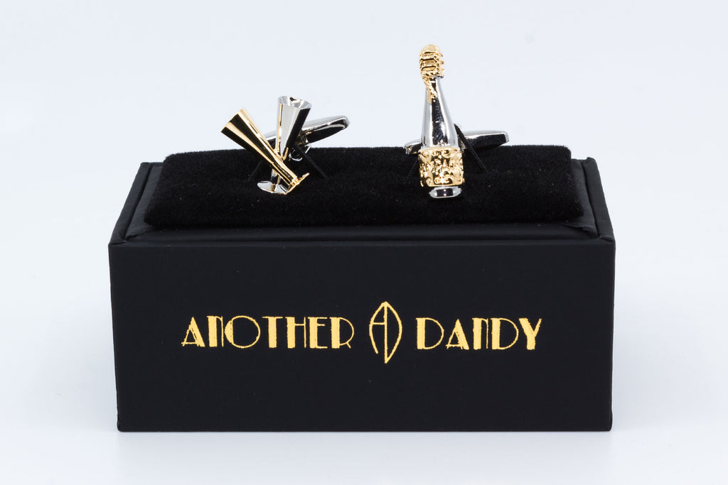 Cufflinks - Champagne - cufflinks with one cufflink as a Champagne bottle and the other as two Champagne glasses in gold and silver.