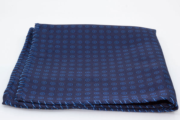 Pocket Square - Hand embroidered - Blue