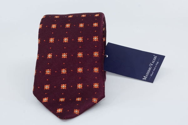 3-Fold Tie - Burgundy/Orange