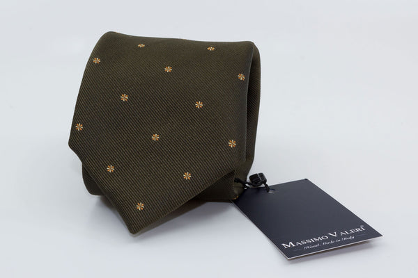3-Fold Tie - Moss Green/Orange