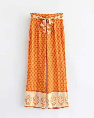 Boho Gypsy Print Pants (Orange / Green)